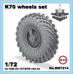 K-70 wheels set for ICM Zil-157/BTR-152 kit, 1/72