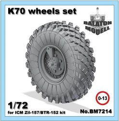 K-70 wheels set for ICM Zil-157/BTR-152 kit, 1/72